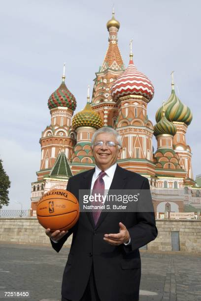 Commissioner David Stern poses with a NBA basketball in the red square on October 7,2006 in Moscow,Russia. NOTE TO USER: User expressly acknowledges...