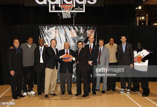 Commissioner David Stern poses with Phoenix Mayor Phil Gordon NBA Deputy Commissioner Adam Silver Phoenix Suns owner Robert Sarver and Leandro...
