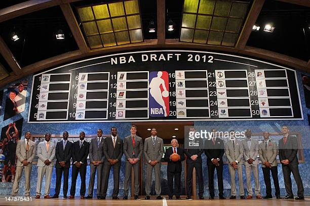 Commissioner David Stern poses with the 2012 Draft class prior to the first round of the 2012 NBA Draft at the Prudential Center on June 28 2012 in...