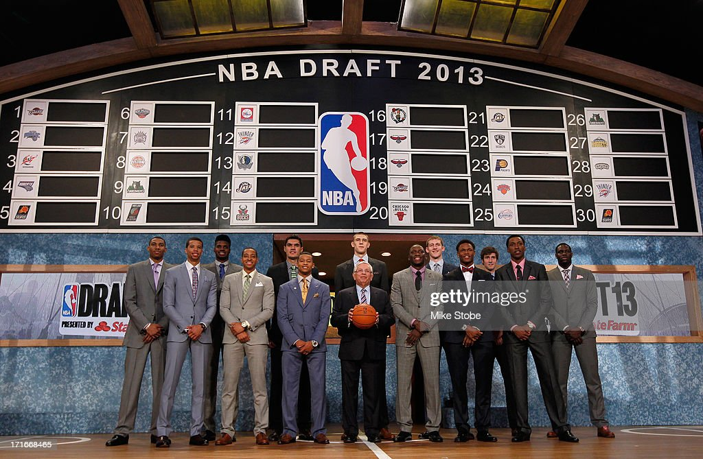 Commissioner David Stern poses with the 2013 NBA Draft Class including Nerlens Noel of Kentucky, Victor Oladipo of Indiana, Otto Porter of Georgetown, Alex Len of Maryland, Ben McLemore of Kansas, Trey Burke of Michigan, Anthony Bennett of UNLV and MIchael Carter-Williams of Syracuse during the 2013 NBA Draft at Barclays Center on June 27, 2013 in in the Brooklyn Bourough of New York City.