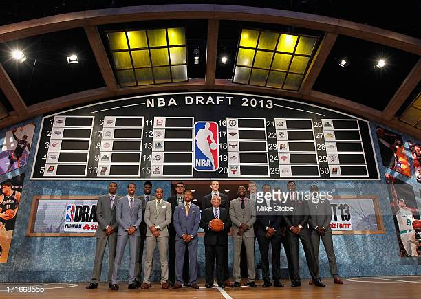 Commissioner David Stern poses with the 2013 NBA Draft Class including Nerlens Noel of Kentucky, Victor Oladipo of Indiana, Otto Porter of...