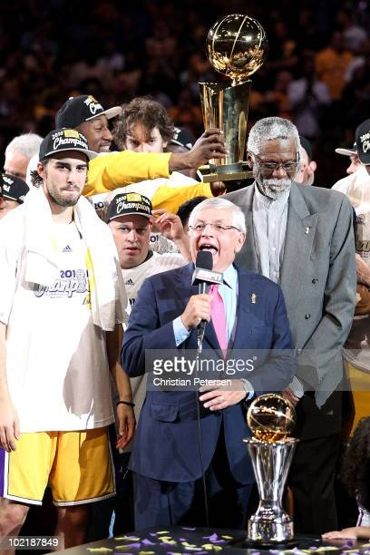 Commissioner David Stern prepares to present the Bill Russell Finals MVP trophy after the Los Angeles Lakers 8379 victory against the Boston Celtics...