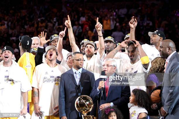 Commissioner David Stern prepares to present the Larry O'Brien trophy to the Los Angeles Lakers after their 8379 victory against the Boston Celtics...