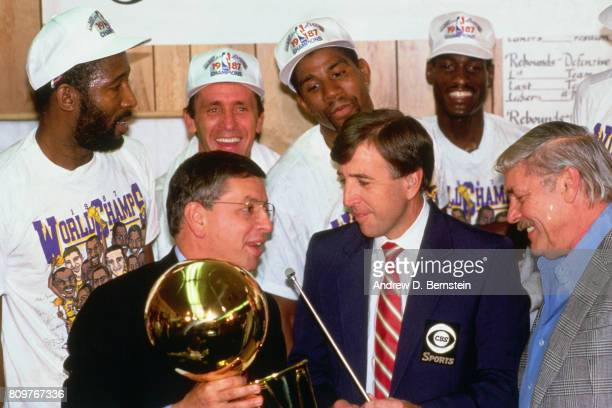 Commissioner David Stern present the Los Angeles Lakers the trophy during 1987 NBA Finals at the Boston Garden in Boston Massachusetts NOTE TO USER...
