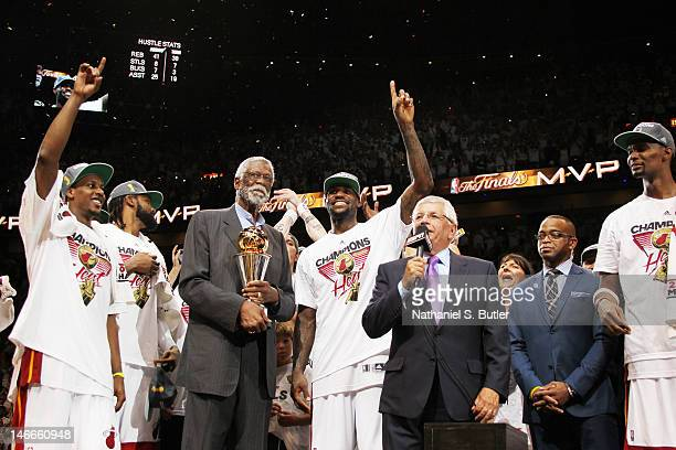 Commissioner David Stern presents LeBron James of the Miami Heat the Bill Russell NBA Finals Most Valuable Player Award after defeating the Oklahoma...