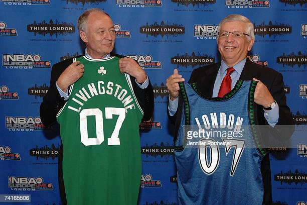 Commissioner David Stern presents the Mayor of London Ken Livingstone with an honorary jersey in advance of the NBA Europe Live presented by EA...