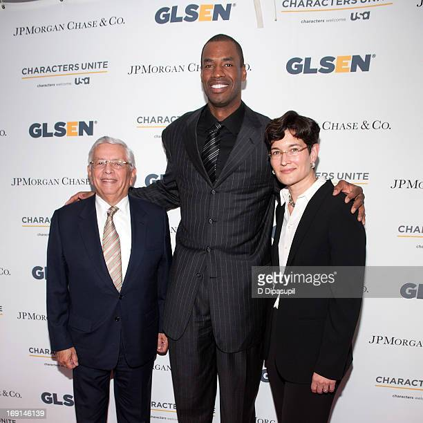 NBA Commissioner David Stern pro basketball player Jason Collins and GLSEN executive director Dr Eliza Byard attend the 2013 GLSEN Respect Awards at...