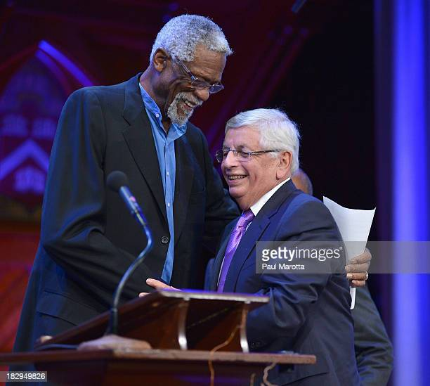 Commissioner David Stern receives the 2013 WEB Du Bois Medal from Former Boston Cenltic Bill Russell at a ceremony at Harvard University's Sanders...