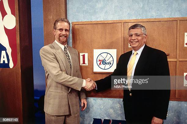 Commissioner David Stern right congratulates Pat Croce of the Philadelphia 76ers after the Sixers won the No 1 pick at the draft lottery on May 19...