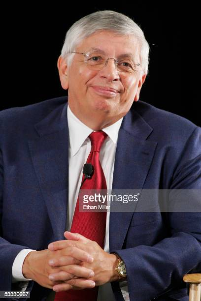 Commissioner David Stern smiles as he answers questions during the press conference at the Las Vegas Convention Center August 5 in Las Vegas, Nevada....