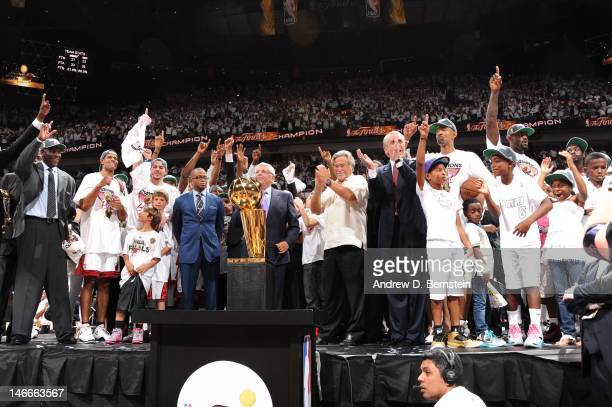 Commissioner David Stern speaks as the Miami Heat celebrates with Larry O'Brien Championship trophy after the team's 121-106 victory against the...
