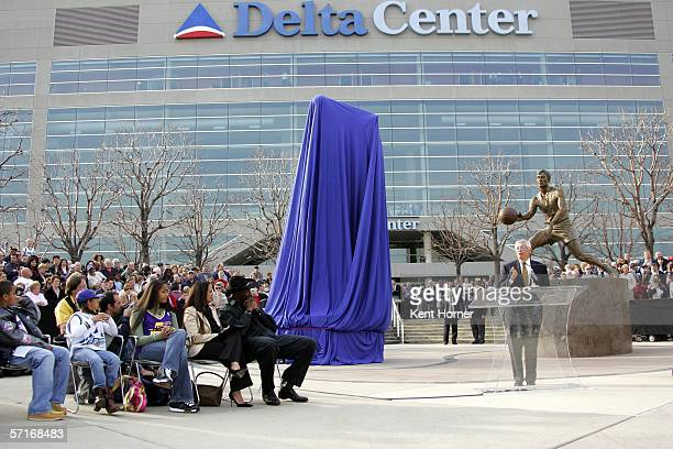 NBA commissioner David Stern speaks at a luncheon honoring retired powerfoward Karl Malone and at the unveiling of the statue commissioned by the...