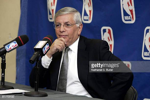 Commissioner David Stern speaks at a press conference about the outcome of the incident on November 19 in Detroit before the Cleveland Cavaliers...
