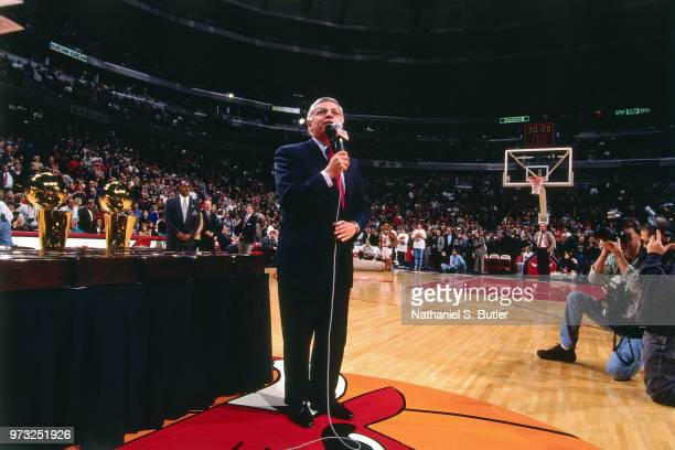 Commissioner David Stern speaks during a game played on November 1 1997 at the First Union Arena in Philadelphia Pennsylvania NOTE TO USER User...