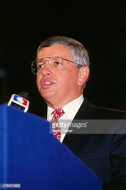 Commissioner David Stern speaks during the 1992 NBA Draft as part on June 24 1992 at the Veterans Memorial Coliseum in Portland Oregon NOTE TO USER...
