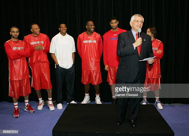 Commissioner David Stern speaks in front of Tony Parker Shawn Marion Andre Iguodala Elton Brand Tim Duncan and Steve Nash during the NBA Europe Live...