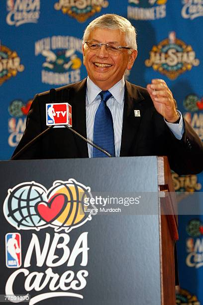 Commissioner David Stern speaks to students and media to announce the ongoing rebuilding of New Orleans on October 31 2007 at Walter L Cohen High...