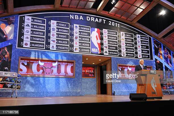 Commissioner David Stern speaks to the crowd precluding the first round of the 2011 NBA Draft at The Prudential Center on June 23 2011 in Newark New...