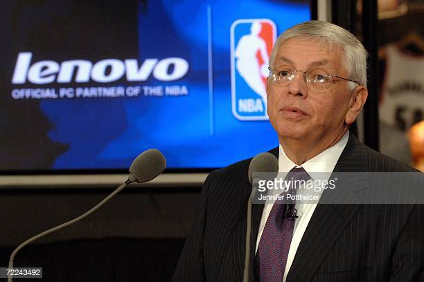 Commissioner David Stern speaks to the media during a press conference announcing a global partnership between the NBA and Lenovo at the NBA Store on...