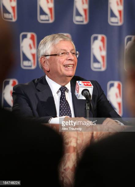 Commissioner David Stern speaks to the media following the NBA Board of Governors Meeting, during which he outlined his plans to step down in...