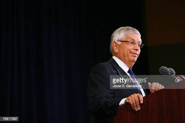 Commissioner David Stern speaks with the media about the FBI investigation of former referee Tim Donaghy at the Westin Times Square on July 24, 2007...
