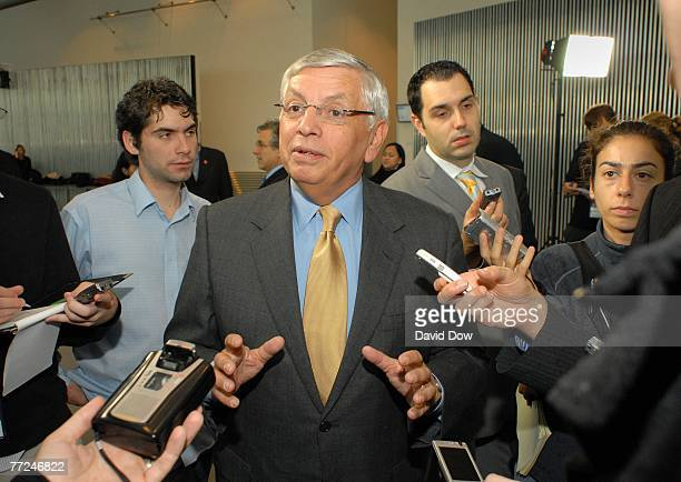 Commissioner David Stern speaks with the press at a London City Hall reception during the NBA Europe Live 2007 Tour London on October 9 2007 in...