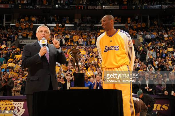 Commissioner David Stern stands with Kobe Bryant of the Los Angeles Lakers before presenting him the 200708 NBA Most Valuable Player award prior to...