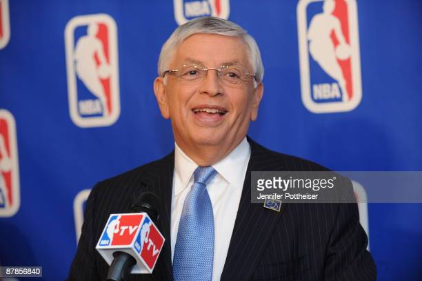 Commissioner David Stern talks to the media prior to the 2009 NBA Draft Lottery at the Studios at NBA Entertainment on May 19, 2009 in Secaucus, New...