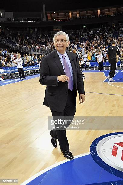 Commissioner David Stern walks on the court before the game between the Washington Wizards and the New Orleans Hornets at the 2008 NBA Europe Live...