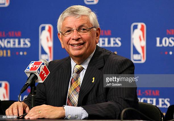 NBA commissioner David Sternn smiles during a news conference to announce Los Angeles as the host of the 2011 NBA AllStar Game before the start of...