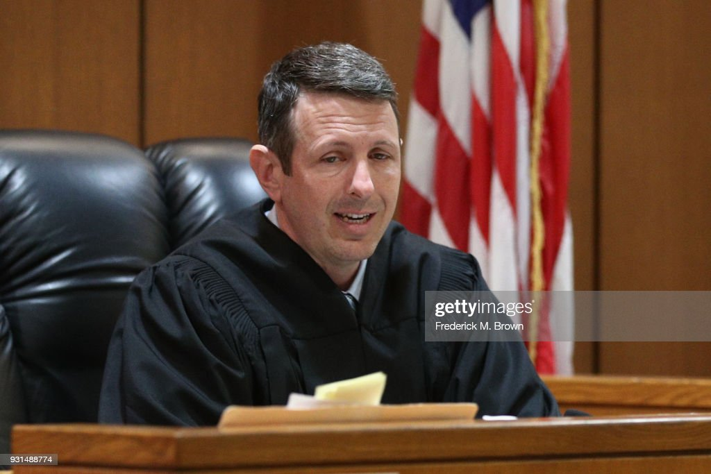 Commissioner Derek Malan speaks during a hearing stemming from domestic violence accusations against Heather Locklear at the Superior Court of Ventura County on March 13, 2018 in Ventura, California. Locklear faced one count of domestic battery for allegedly attacking her boyfriend, those charges have been dropped but Locklear still faces multiple counts of battery for allegedly attacking Ventura County Sheriff's deputies during the domestic dispute.