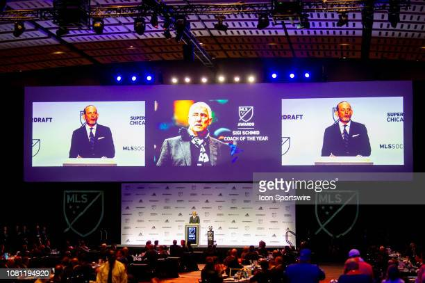 MLS commissioner Don Garber announces the renaming of the coach of the year award to the Sigi Schmid award in the first round of the MLS SuperDraft...