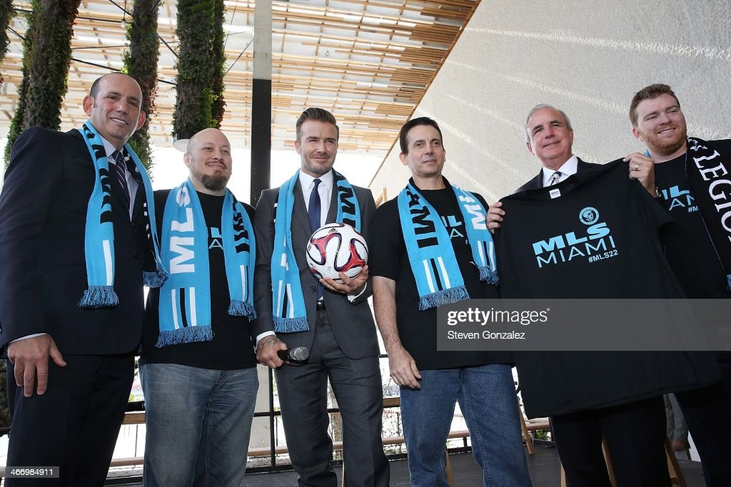 David Beckham, Commissioner Don Garber and Mayor Carlos Gimenez Press Conference : News Photo
