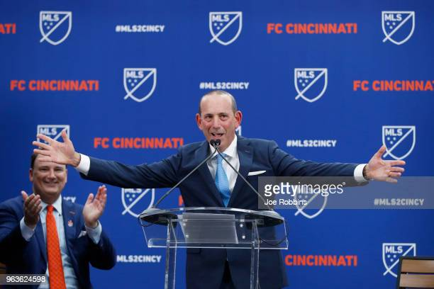 Commissioner Don Garber makes the announcement awarding FC Cincinnati an expansion franchise as team president and general manager Jeff Berding...