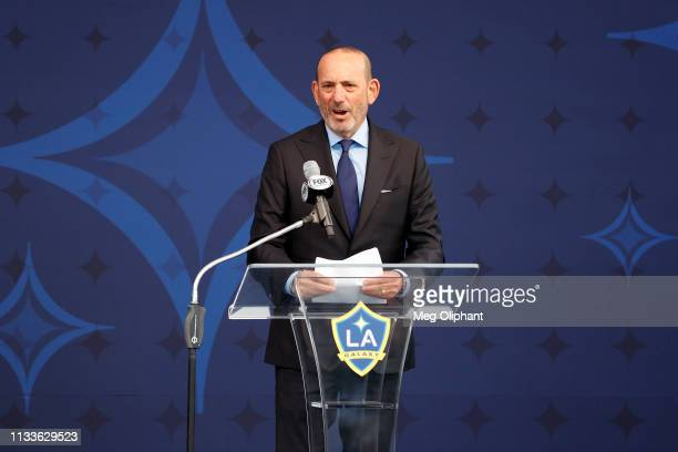 Commissioner Don Garber speaks at the unveiling of the David Beckham statue at Dignity Health Sports Park on March 02, 2019 in Carson, California.