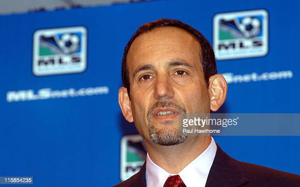 Commissioner Don Garber speaks during a news conference announcing Freddy Abu's multi year deal with Major league Soccer at Madison Square Garden in...
