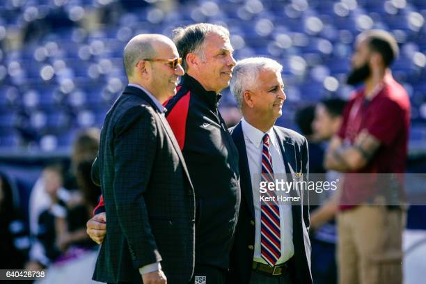 Commissioner Don Garber USMNT Head coach Bruce Arena and United States Soccer Federation President Sunil Gulati together during pregame warmups prior...