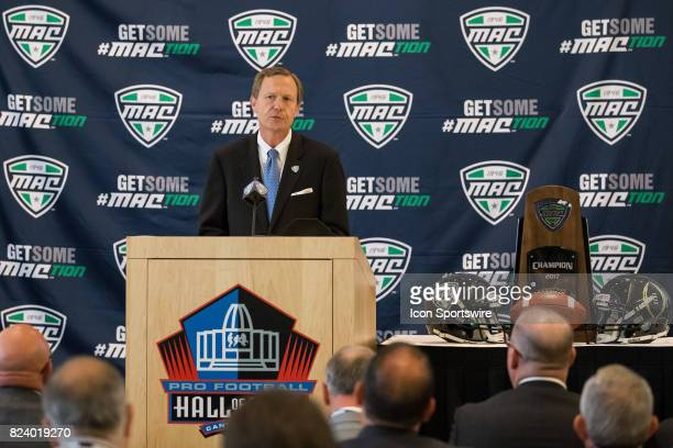 Commissioner Dr Jon Steinbrecher delivers his State of the Conference speech during the MidAmerican Conference football media day on July 26 2017 at...