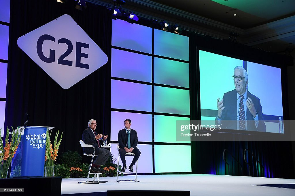 Commissioner Emeritus David J. Stern and AGA President & CEO Geoff Freeman speak during the Global Gaming Expo 2016 (G2E) at the Las Vegas Sands Corp. Expo and Convention Center on September 29, 2016 in Las Vegas, Nevada.