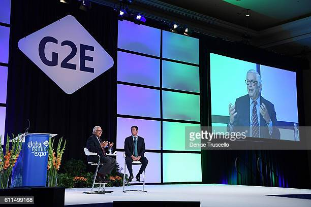 Commissioner Emeritus David J Stern and AGA President CEO Geoff Freeman speak during the Global Gaming Expo 2016 at the Las Vegas Sands Corp Expo and...