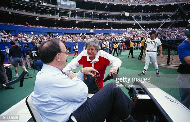Commissioner Fay Vincent meets Cincinnati Reds owner Marge Schott before a game in the 1990 NLCS against the Pittsburgh Pirates at Three Rivers...