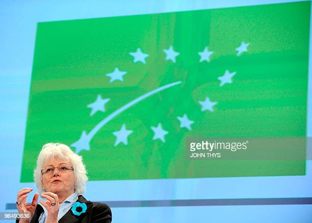 EU Commissioner for Agriculture and rural development Mariann Fischer Boel gives a press conference to present the 'Euroleaf' logo a green leaf...