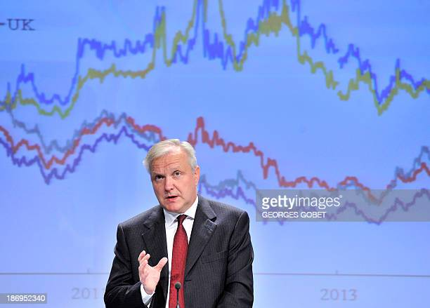 EU commissioner for Economic and Monetary Affairs Olli Rehn gives a press conference on the annual autumn economic forecast covering the period...