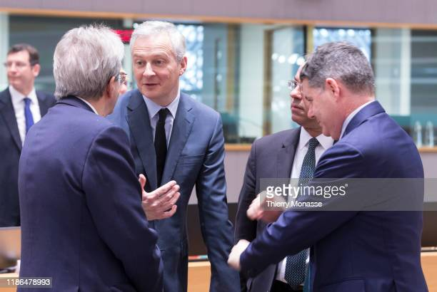 Commissioner for Economy Paolo Gentiloni is talking with the French Minister of the Economy Bruno Le Maire, the Greek Finance Minister Christos...