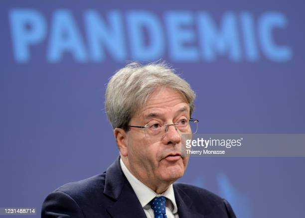 Commissioner for Economy Paolo Gentiloni speaks to media about the updated approach to fiscal policy response to coronavirus pandemic in the...
