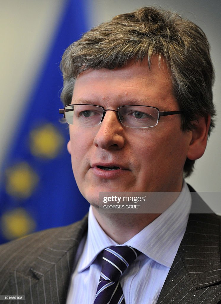 EU commissioner for Employment, Social Affairs and Inclusion Laszlo Andor speaks during an interview with AFP on May 31, 2010 at the EU headquarters in Brussels. Laszlo Andor said that EU governments could no longer postpone reforming retirement schemes during the financial crisis. Commissioner Andor also recalled the responisbility of European nations to take matters into their own hands and speed up the one-year time frame in retirement reforms.