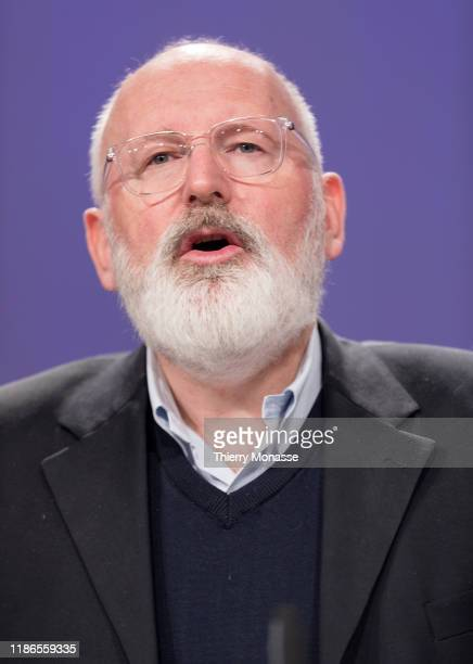 Commissioner for European Green Deal First Vice President and Executive Vice President Frans Timmermans is talking to media about the Europes state...