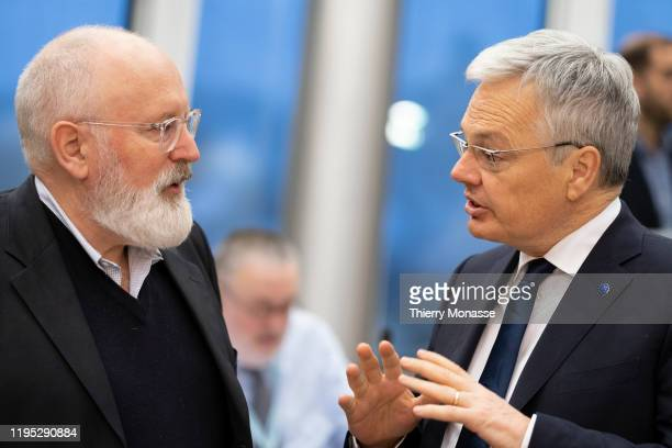Commissioner for European Green Deal First Vice President and Executive Vice President Frans Timmermans is talking with the EU Commissioner for...