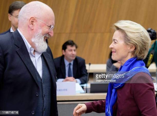 Commissioner for European Green Deal First Vice President and Executive Vice President Frans Timmermans talks with the President of the European...