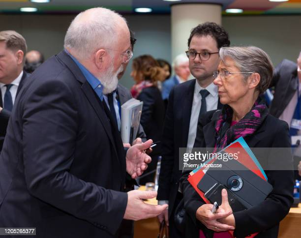 Commissioner for European Green Deal First Vice President and Executive Vice President Frans Timmermans greets the French Minister of Ecology...